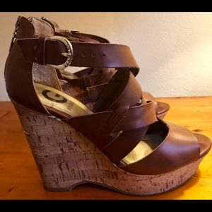 Brown leather Guess cork wedges